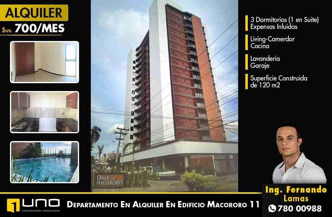 Departamento de 3 Dormitorios en Alquiler, Edificio Macororo 11, Zona Equipetrol, Santa Cruz, Bolivia