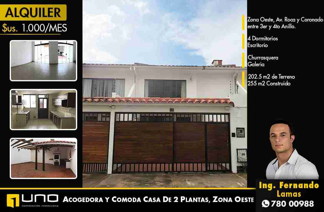 Casa en Alquiler Zona Roca y Coronado, de 4 dormitorios, Santa Cruz, Bolivia