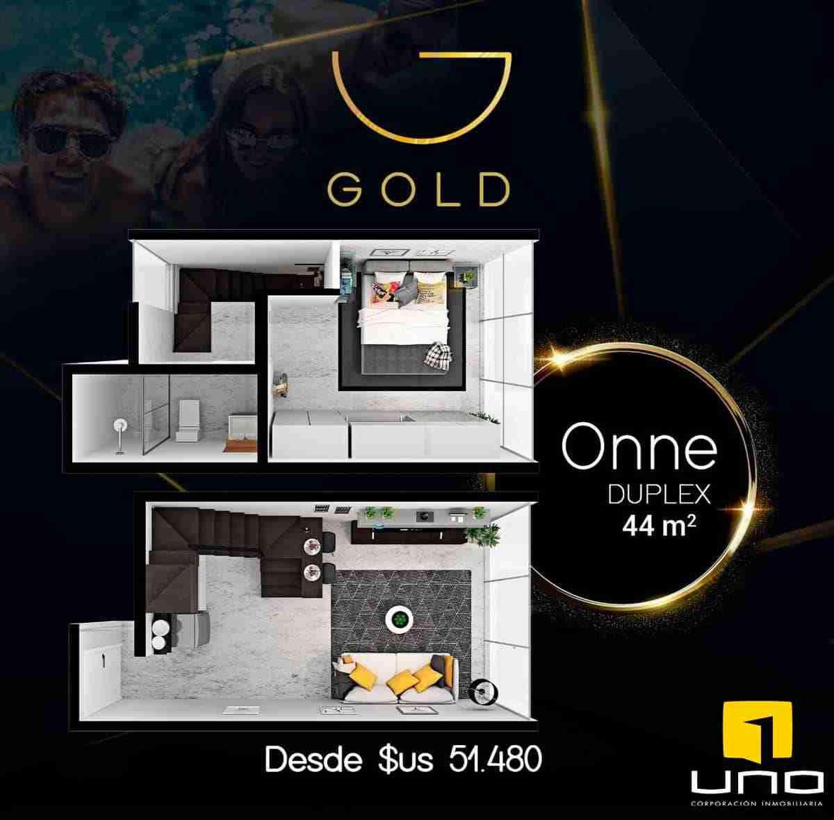 Departamento Duplex de 1 Dormitorio en Edificio Gold, Zona Equipetrol, Santa Cruz, Bolivia.