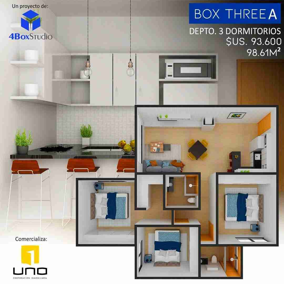 11 Box Three A PreVenta Departamentos Monoambiente, 1 y 2 y 3 Dormitorios y Locales Comerciales Edificio Blue Box, Av Banzer, Zona Norte