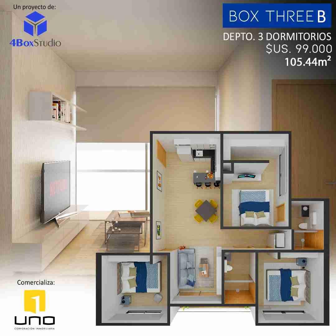 12 Box Three B, PreVenta Departamentos Monoambiente, 1 y 2 y 3 Dormitorios y Locales Comerciales Edificio Blue Box, Av Banzer, Zona Norte