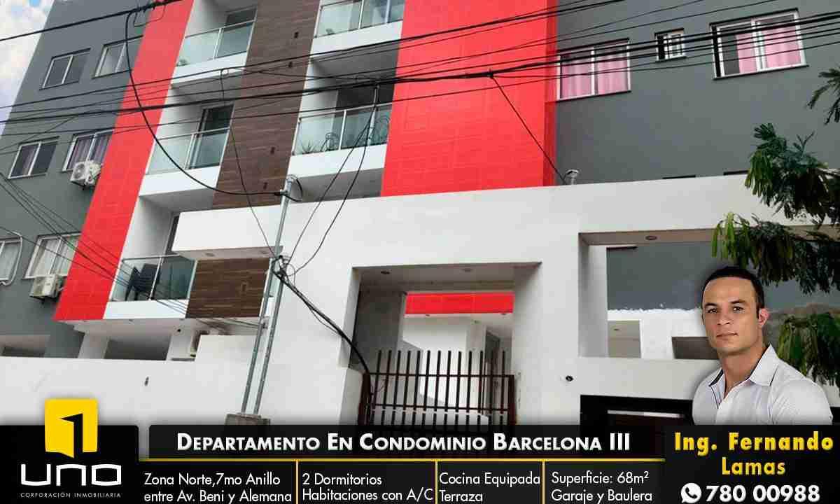Departamento en Anticretico de 2 Dormitorios, Zona Norte, entre avenida beni y alemana, en Condominio Barcelona 3 (1)