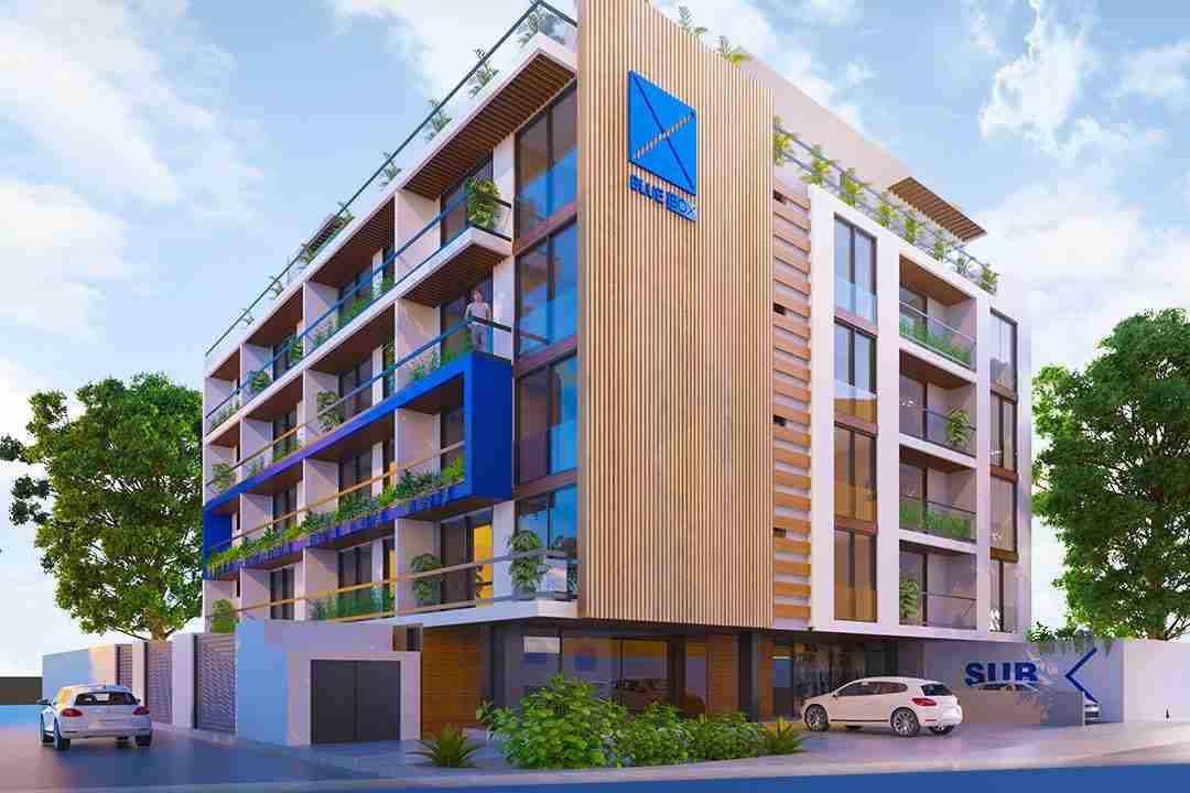 PreVenta Departamentos Monoambiente, 1 y 2 y 3 Dormitorios y Locales Comerciales Edificio Blue Box, Av Banzer, Zona Norte (1)