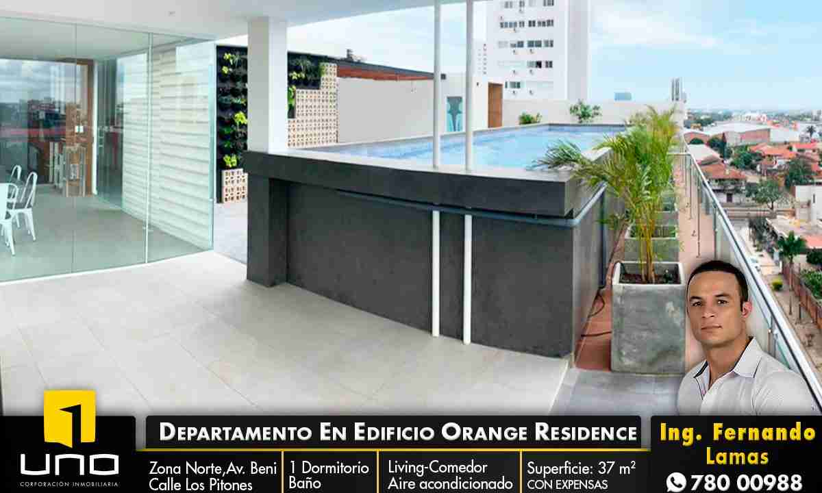 Alquiler departamento 1 dormitorio con expensas en Edificio Orange Residence, zona Norte, Santa Cruz, Bolivia (1)