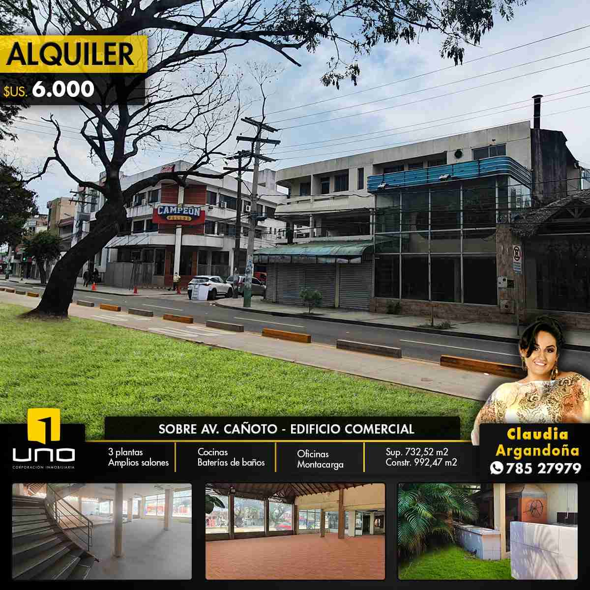 SOBRE AVENIDA CAÑOTO AMPLIO EDIFICIO COMERCIAL EN ALQUILER