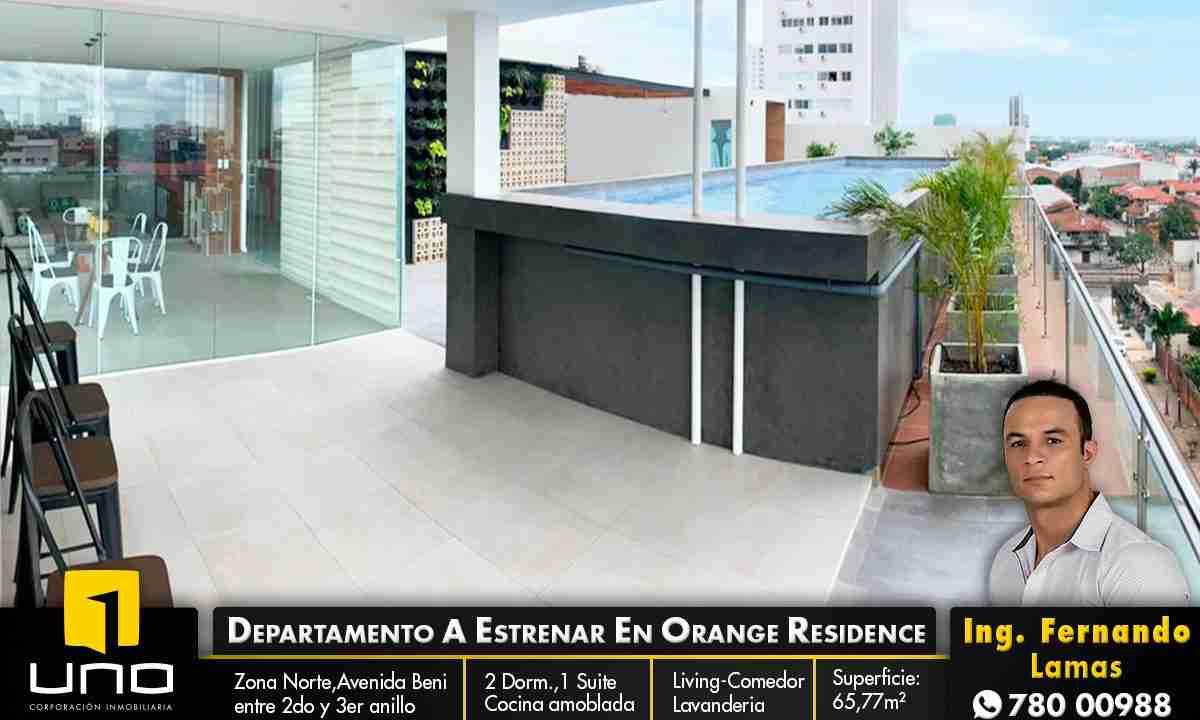 Venta de departamento de 2 dormitorios en Edificio Orange Residence, Zona Norte, Avenida Beni y Avenida Los Cusis, Calle los Pitones, Santa Cruz, Bolivia. (1)